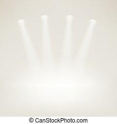projecteurs, étape, clair, vide
