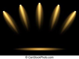 projecteurs, 5, doré, fond foncé