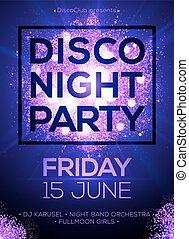 projecteurs, affiche, nuit, fond, disco, gabarit, violet, fête, briller