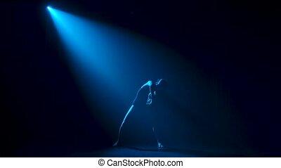 projecteurs, bleu, studio., bodysuit, gracieux, obscurité, jeune, silhouette, théâtral, ballerine, noir, sous, flexible, danse