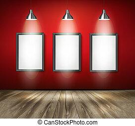 projecteurs, bois, floor., vector., rouges, salle