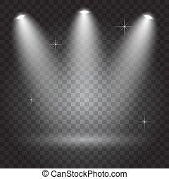 projecteurs, clair, éclairage, fond, transparent, sombre, effets