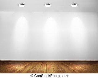 projecteurs, mur, concept., floor., bois, vecteur, salle ...