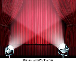 projecteurs, sur, rouges, velours, cinéma, rideaux