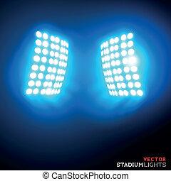 projecteurs, vecteur, stade