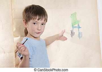projectile studio, de, jeune garçon, dessin