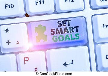 projection, écriture, business, showcasing, bon, photo, faire, ensemble, establish, goals., plans., achievable, intelligent, objectifs, note