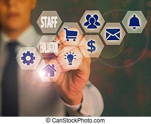 projection, écriture main, s, revue, business, personnel, ouvrier, métier, showcasing, perforanalysisce., photo, évaluation, evaluation., conceptuel