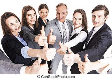 projection, équipe, haut, business, pouce
