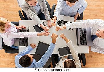 projection, équipe, haut, business, pouces