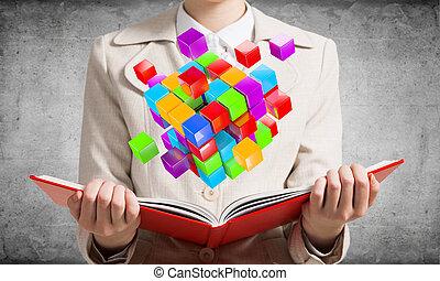 projection, 3d, coloré, géométrique, femme, cubes