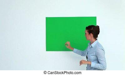 projection, affiche, femme affaires