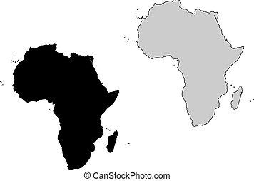 projection., afrique, map., noir, white., mercator