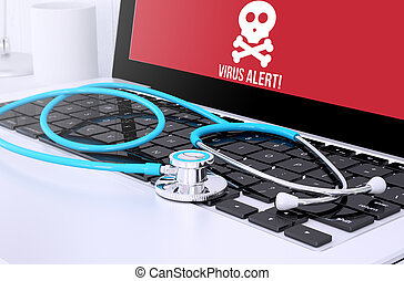 projection, alerte, virus, stéthoscope, clavier, écran, ordinateur portable