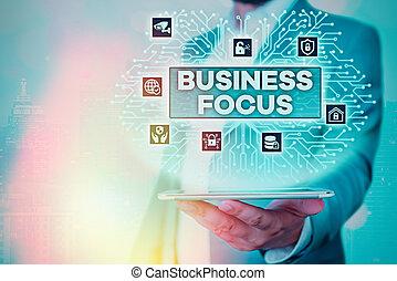 projection, attention, details., besoins, business, foyer., entiers, signe, texte, conceptuel, client, photo, servir