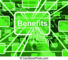 projection, avantages, bonification, bouton, illustration, petits profits, ou, 3d