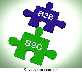 projection, b2c, puzzle, association, relations, b2b, constitué, consommateur, ou