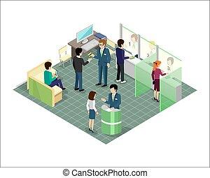 projection., bancario, isometrico, vettore, servizi