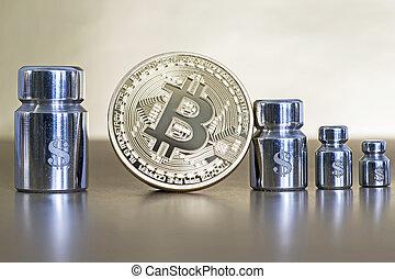 projection, bitcoin, symboles, croissance, poids, dollar, decline., gravé