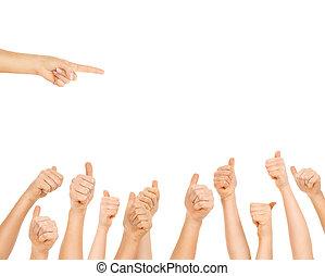 projection, bon, doigts, offre