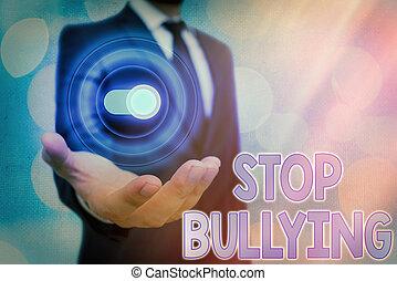 projection, bullying., baston, arrêt, ceci, éliminer, texte...
