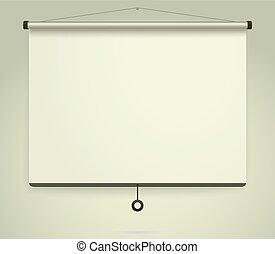 projection, cadre, whiteboard, screen., présentation, fond, vide