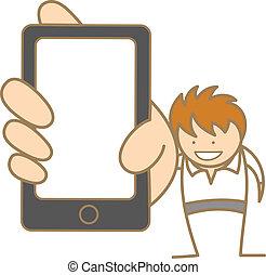 projection, caractère, téléphone portable, message, dessin ...