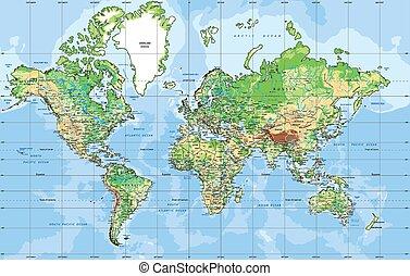 projection., carte, physique, mondiale, mercator
