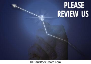 projection, conceptuel, opinion, us., business, s'il vous plaît, photo, réaction, comments, écriture, main, revue, showcasing, qualité, service., donner