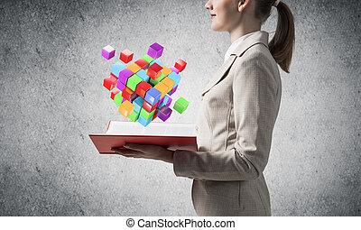 projection, cubes, femme, géométrique, coloré, 3d