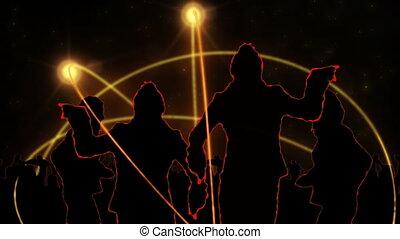 projection, dancin, silhouette, animation