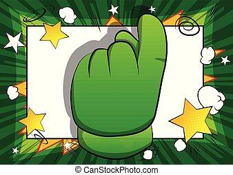 projection, dessin animé, vecteur, invitation, main, signe.