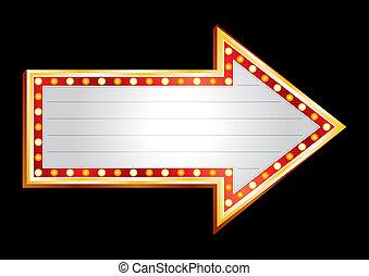 projection, direction, néon