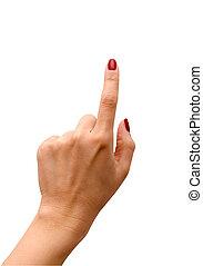 projection, doigt, isolé, blanc, indice, quelque chose