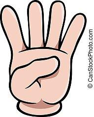 projection, doigts, main, quatre, humain, dessin animé