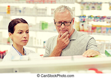 projection, drogue, pharmacie, personne agee, pharmacien, homme