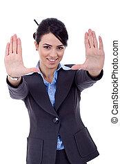 projection, encadrement, geste, main