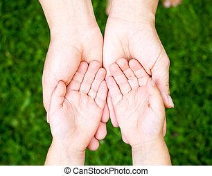 projection, enfant, mains