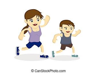 projection, entre, ensemble, fils, liaison, mère, ils., fort, exercice