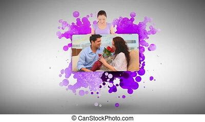 projection, femme, couple, maison