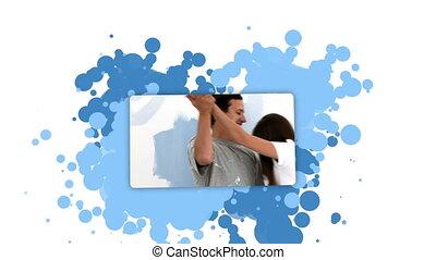 projection, femme, coupler embrasser