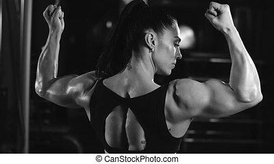 projection, femme, elle, fort, muscles