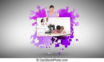 projection, femme, familles, maison