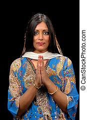 projection, femme, indien, gratitude.