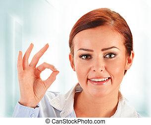 projection, femme, ok, jeune, geste