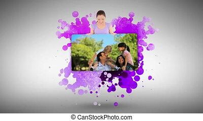 projection, femme, parc, famille