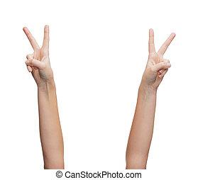 projection, femme, v-signe, mains