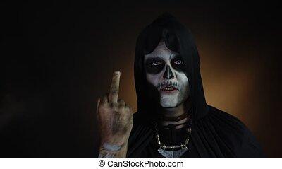 projection, finger., halloween, milieu, crâne, maquillage, ...