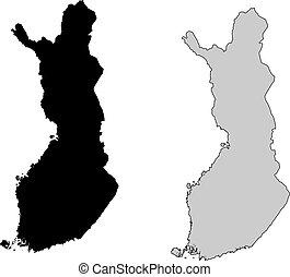 projection., finlande, map., noir, white., mercator