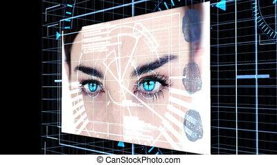 projection, futuriste, écran, animation